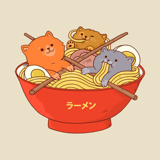Cats in a Bowl of Ramen Noodles T-Shirt