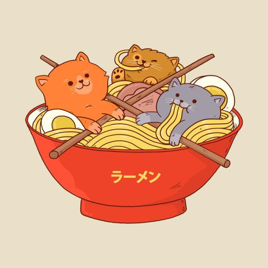 Cats in a Bowl of Ramen Noodles T-Shirt