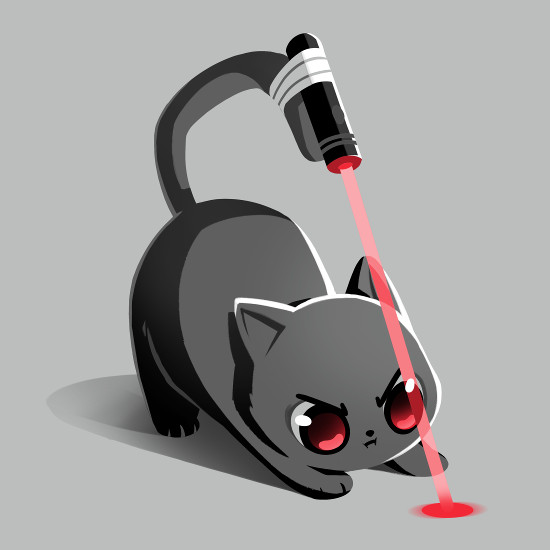 Trained Assassin Laser Pointer Cat Tail T-Shirt