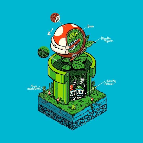 Piranha Plant Pipe Anatomy Super Mario Bros T-Shirt
