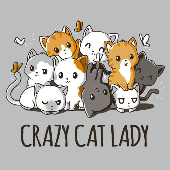 Crazy Cat Lady Cute Cartoon Cats T-Shirt