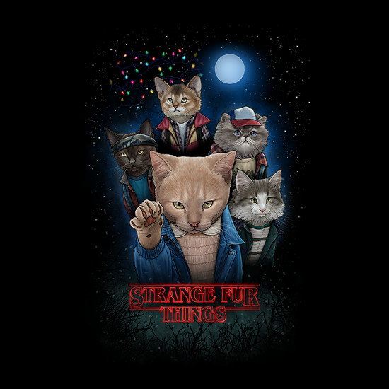 Strange Fur Things Stranger Things Cats T-Shirt